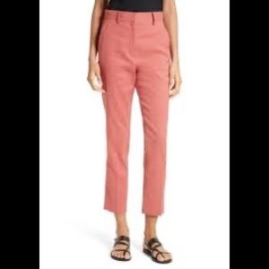 Theory Lenoria Carmine Red Linen Pants Cropped 0